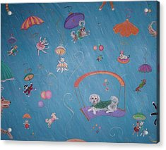 Acrylic Print featuring the painting Raining Cats And Dogs by Dee Davis