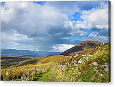 Raining Down And Sunshine With Rainbow On The Countryside In Ire Acrylic Print by Semmick Photo