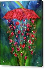 Raining Roses Acrylic Print by Carol Cavalaris