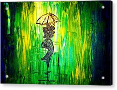 Acrylic Print featuring the painting Rainning Green by Piety Dsilva