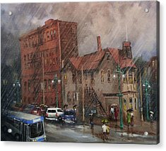 Rainy Afternoon Milwaukee Acrylic Print by Tom Shropshire