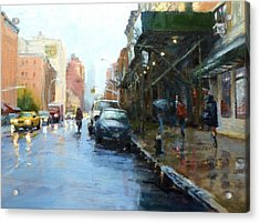 Rainy Afternoon On Amsterdam Avenue Acrylic Print by Peter Salwen