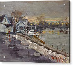 Rainy And Snowy Evening By Niagara River Acrylic Print by Ylli Haruni