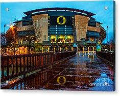Rainy Autzen Stadium Acrylic Print by Michael Cross