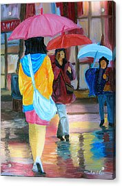 Rainy City Acrylic Print by Michael Lee