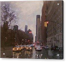 Rainy City Street Acrylic Print by Anita Burgermeister