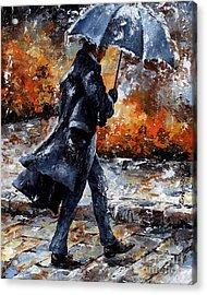 Rainy Day/07 - Walking In The Rain Acrylic Print by Emerico Imre Toth