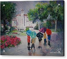 Rainy Day At The Broadmoor Hotel Acrylic Print by Reveille Kennedy