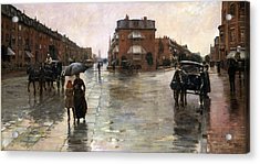 Acrylic Print featuring the painting Rainy Day, Boston - 1885  by Frederick Childe Hassam