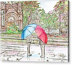 Rainy Day In Downtown Worcester, Ma Acrylic Print
