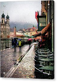 Rainy Day In Lucerne Acrylic Print by Jim Hill