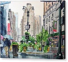 Acrylic Print featuring the painting Rainy Day In New York by Tom Riggs