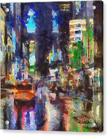 Rainy Day In Times Square Acrylic Print
