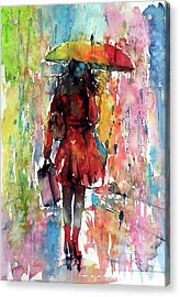 Acrylic Print featuring the painting Rainy Day by Kovacs Anna Brigitta