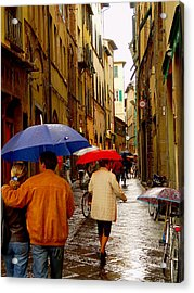 Acrylic Print featuring the photograph Rainy Day Shopping In Italy by Nancy Bradley