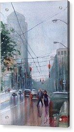 Rainy Downtown Dayton Day Acrylic Print