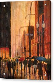 Rainy Evening Chicago Acrylic Print