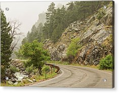 Acrylic Print featuring the photograph Rainy Misty Boulder Creek And Boulder Canyon Drive by James BO Insogna
