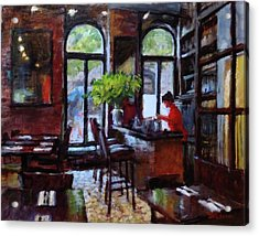 Rainy Morning In The Restaurant Acrylic Print by Peter Salwen