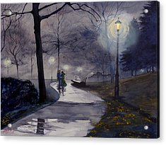 Rainy Night In Central Park Acrylic Print