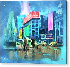 Rainy Night In New York Acrylic Print