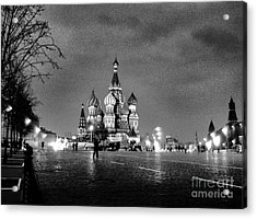 Rainy Red Square At Dusk Acrylic Print by Steve Rudolph