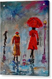 Acrylic Print featuring the painting Rainy Spring Day by Sher Nasser
