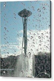 Rainy Window Needle Acrylic Print by Tim Allen