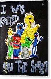 Raised On The Street Acrylic Print by Amanda Sparrow