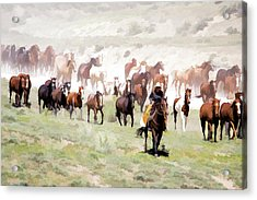 Acrylic Print featuring the digital art Raising Dust On The Great American Horse Drive In Maybell Colorado by Nadja Rider
