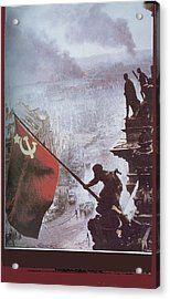 Raising The Soviet Flag  On The Reichstag Building Berlin Germany May 1945 Acrylic Print