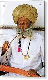 Rajasthani Elder Acrylic Print by Michele Burgess