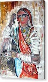 Rajasthani Woman Acrylic Print by Narayanan Ramachandran