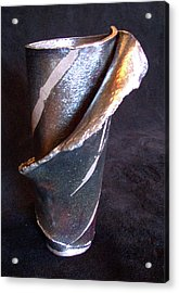 Raku Slab Wrapped Vase Acrylic Print by Carolyn Coffey Wallace