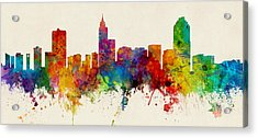 Raleigh North Carolina Skyline Panoramic Acrylic Print by Michael Tompsett