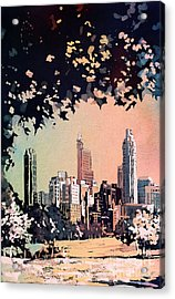 Acrylic Print featuring the painting Raleigh Skyline V by Ryan Fox
