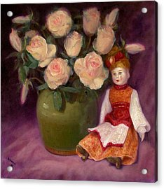 Acrylic Print featuring the painting Ramblin Rose by Donelli  DiMaria