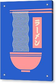 Ramen Japanese Food Noodle Bowl Chopsticks - Blue Acrylic Print