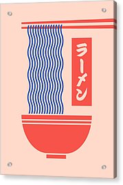 Ramen Japanese Food Noodle Bowl Chopsticks - Salmon Acrylic Print