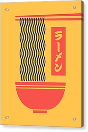 Ramen Japanese Food Noodle Bowl Chopsticks - Yellow Acrylic Print