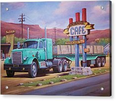 Acrylic Print featuring the painting Ranch House Truckstop. by Mike Jeffries