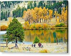 Ranch Pond In Autumn Acrylic Print