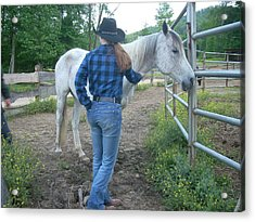 Ranchhand With Horsey Acrylic Print by Beebe Barksdale-Bruner