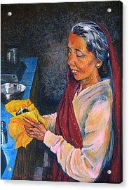 Rani The Cook Acrylic Print by Art Nomad Sandra  Hansen