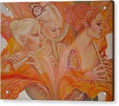 Raphsody On An Iris Acrylic Print by Pamela Mccabe