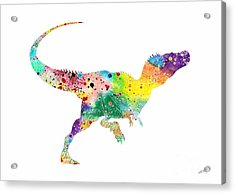 Raptor 2 Dinosaur Watercolor Acrylic Print by Svetla Tancheva