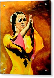 Raquel Heredia - Flamenco Dancer Acrylic Print by Manuel Sanchez