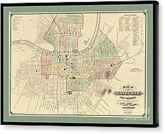 Rare Vintage Map Of Nashville Tennessee Acrylic Print by Pd