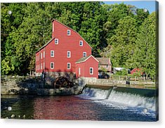 Rariton River And The Red Mill - Clinton New Jersey Acrylic Print by Bill Cannon