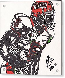 Acrylic Print featuring the drawing Rashard Mendenhall 1 by Jeremiah Colley